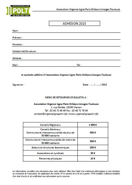 Bulletin d'adhésion Urgence Ligne POLT